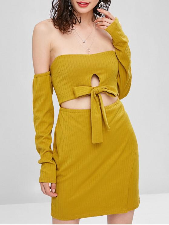 affordable Cut Out Off Shoulder Long Sleeve Dress - GOLDEN BROWN L