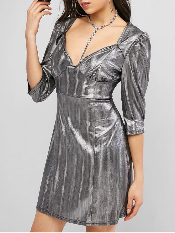 ZAFUL Mini Vestido Reflexivas de Corazón con Estampado de Corazón - Plata S