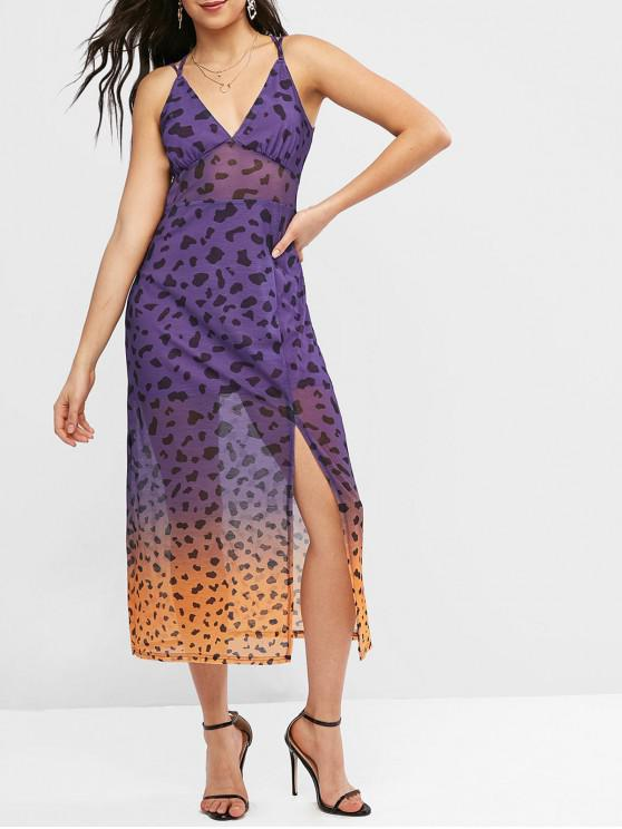 women ZAFUL Mesh Panel Slit Ombre Leopard Dress - PURPLE S