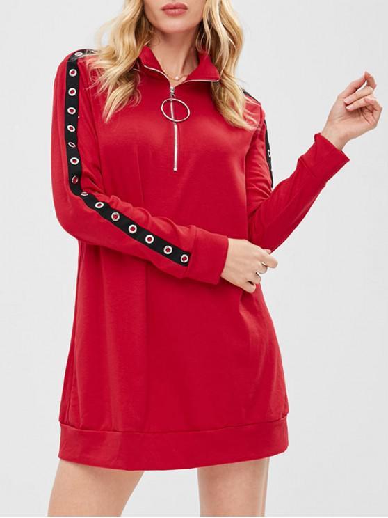 online ZAFUL Half Zip Grommet Sweatshirt Dress - RED S