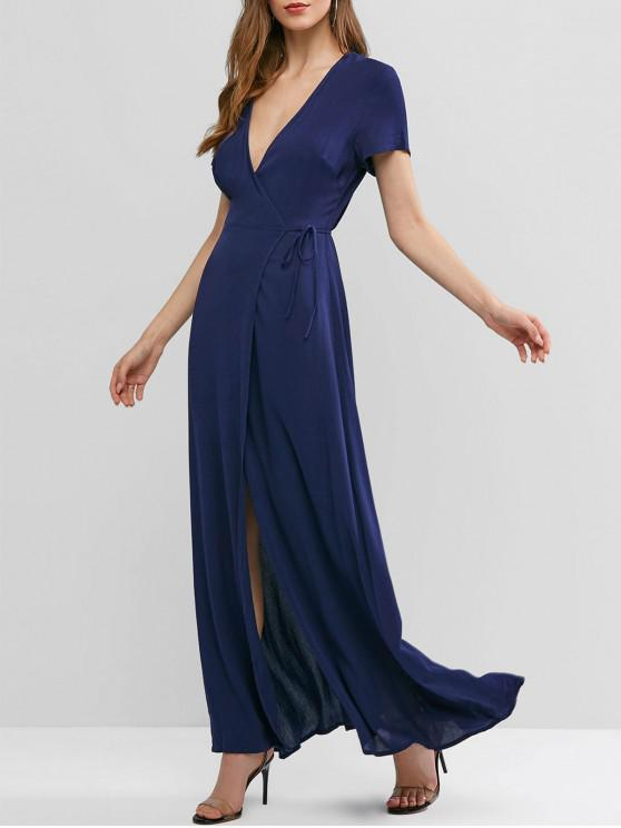 womens ZAFUL Solid Color Maxi Wrap Dress - MIDNIGHT BLUE S