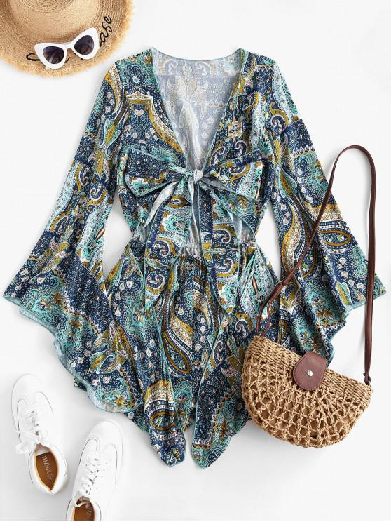 women Printed Cut Out Tie Front Flare Sleeve Romper - BLUE KOI L