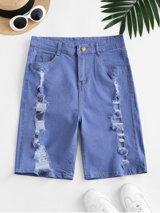 women's Distressed High Waisted Denim Shorts - BLUE S