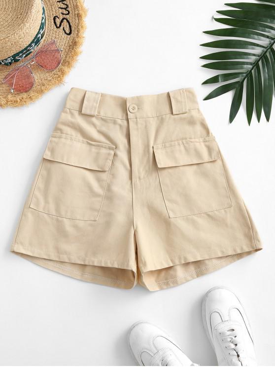 ladies Flap Pockets Solid Cargo Shorts - LIGHT COFFEE M