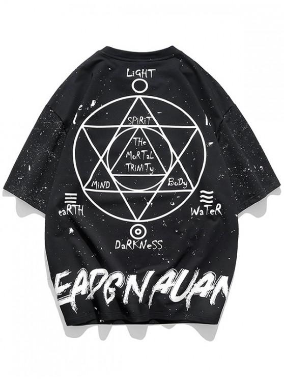 Galaxy Graphic Oriental Print T-shirt - أسود XL