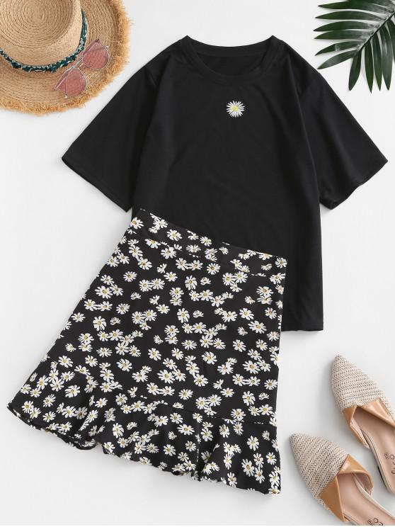 Robe de Deux Pièces Fleurie à Volants - Noir XL
