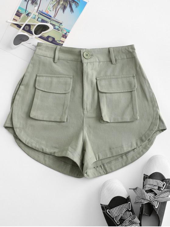 hot Flap Pockets Cargo Shorts - GREEN M