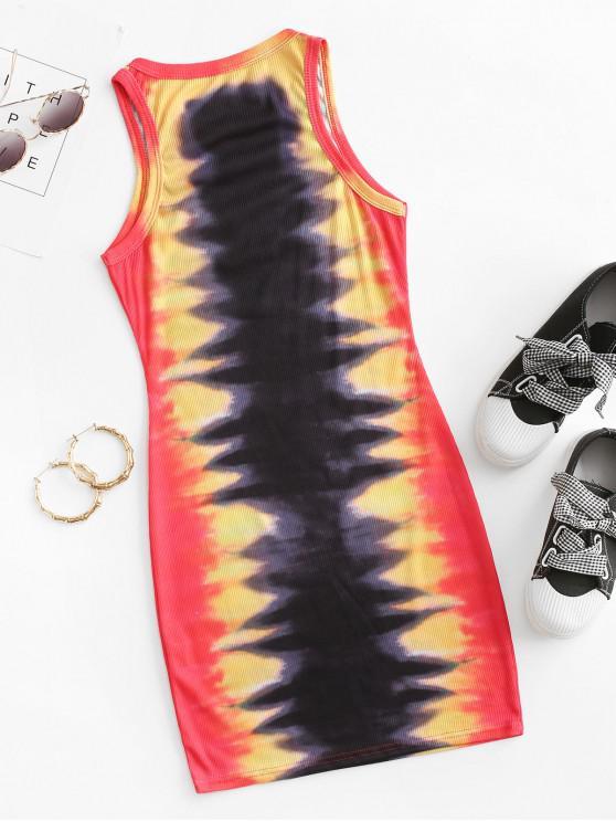 Ribbed Tiger Print Tie Dye Bodycon Tank Dress - Black L   ZAFUL