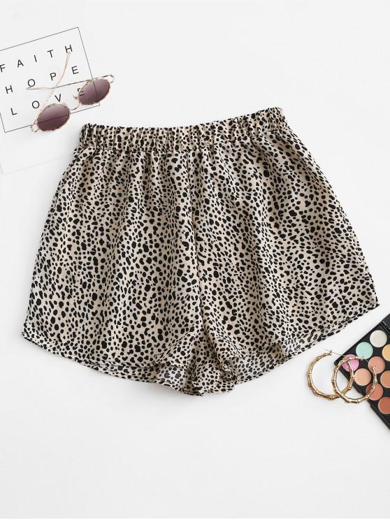trendy High Waisted Dalmatians Dot Shorts - LIGHT COFFEE XL