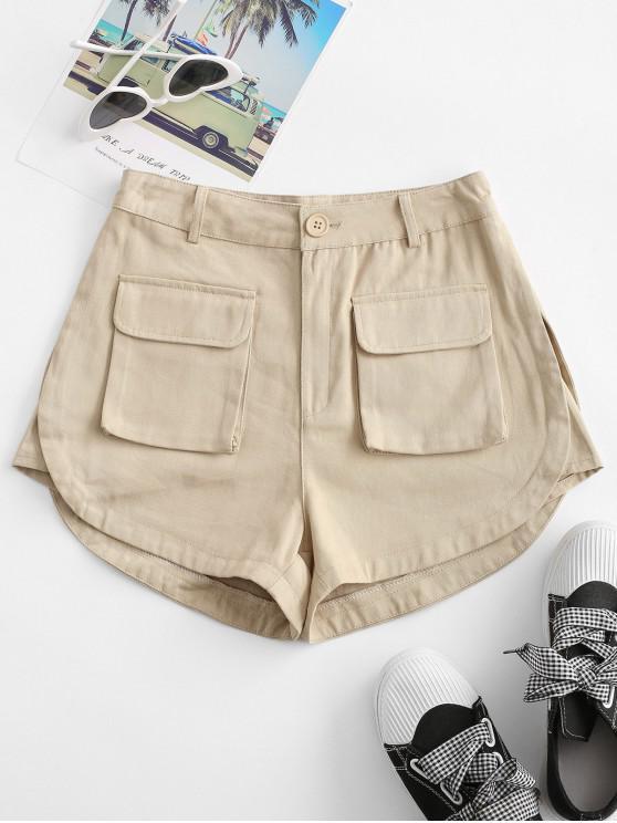 shops Flap Pockets Cargo Shorts - LIGHT COFFEE S