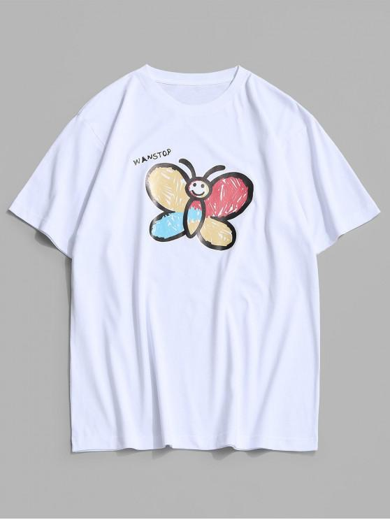 affordable Basic Butterfly Paint Print T-shirt - WHITE S