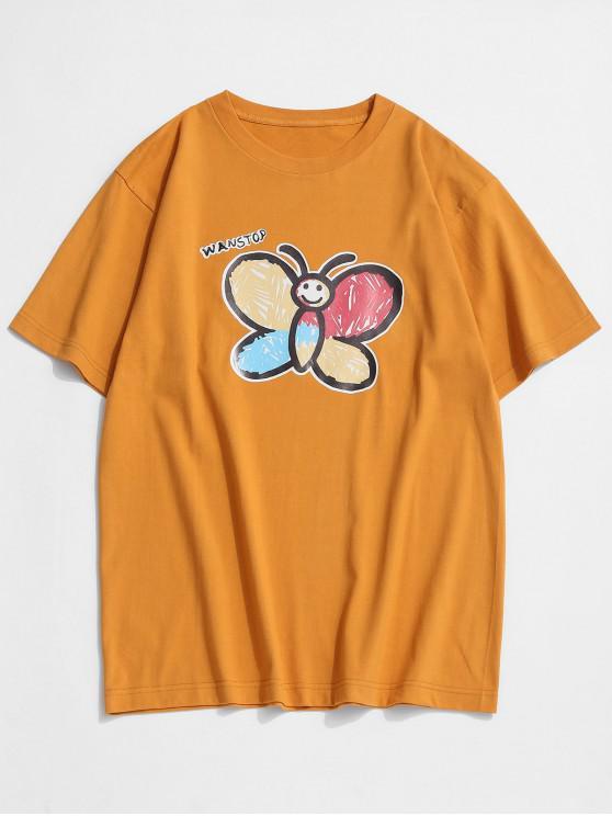 Camiseta Básica con Estampado de Mariposa - Amarilla de Abeja  M