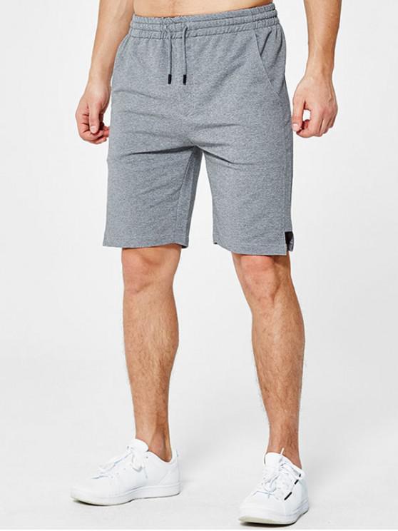ladies Letter Applique Notched Sweat Shorts - LIGHT GRAY XL