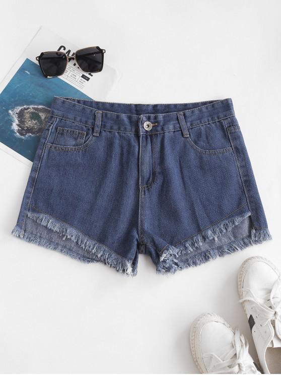 Shorts de Brim Plano com Bainha Desfiada e Bolso - Azul M