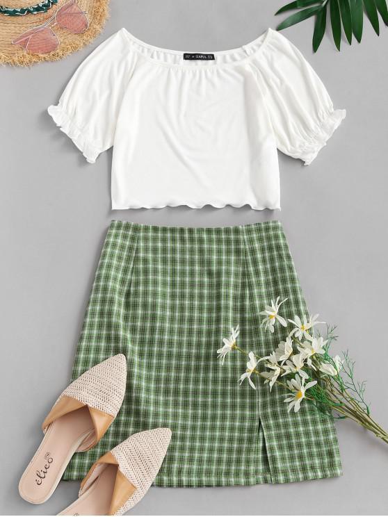 ZAFUL Ribbed Plaid Slit Two Piece Dress - أبيض M