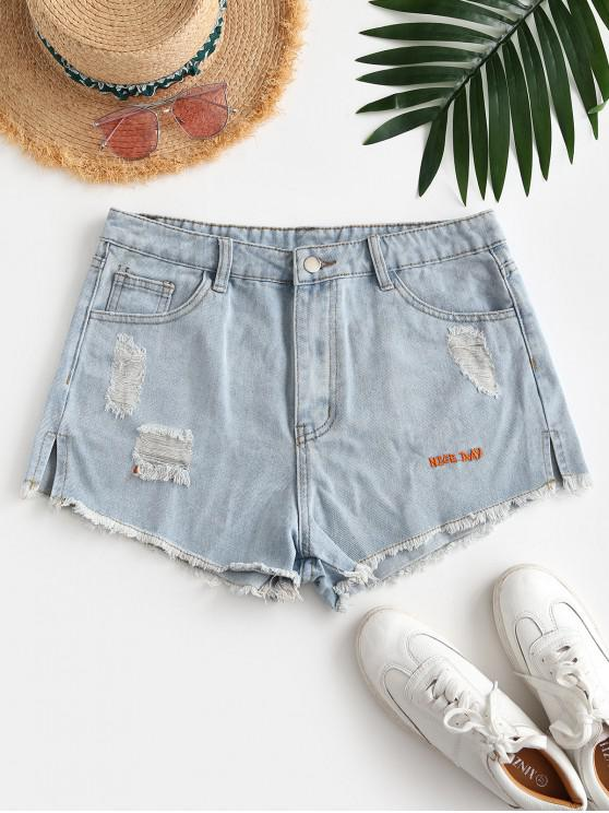 hot Letter Embroidery Raw Hem Slit Denim Shorts - LIGHT BLUE XS