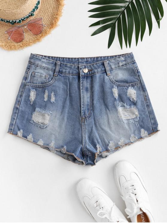 shop Zip Fly Distressed Mini Denim Shorts - BLUE L