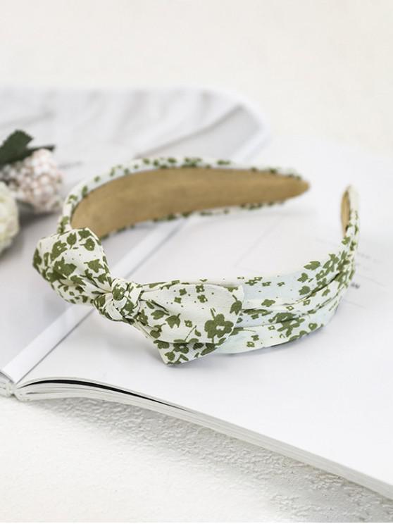 unique Tiny Floral Print Bowknot Head Band - WHITE