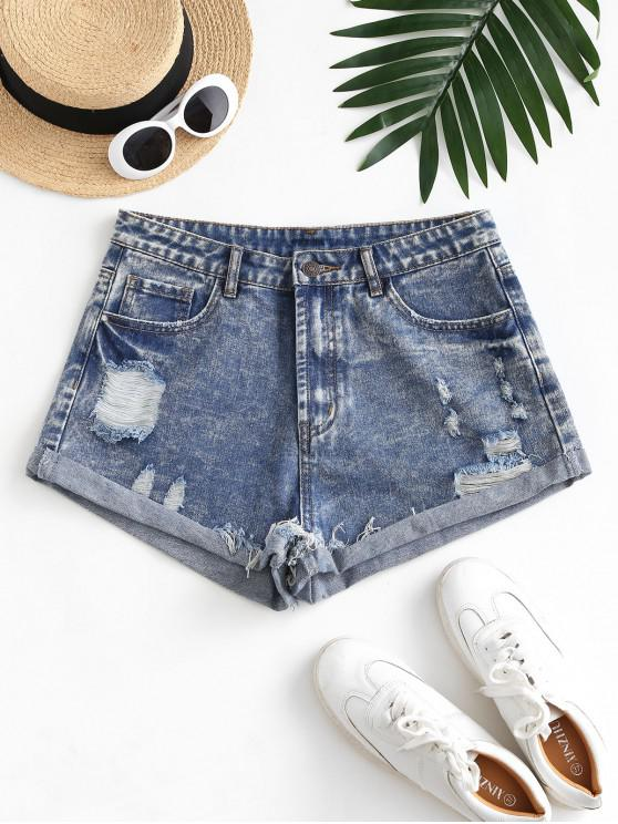 chic Frayed Ripped Snow Wash Cuffed Denim Shorts - BLUE L