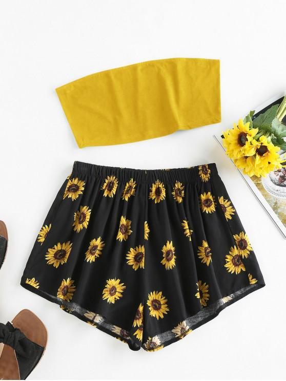 buy ZAFUL Sunflower Print Strapless Wide Leg Shorts Set - DEEP YELLOW M