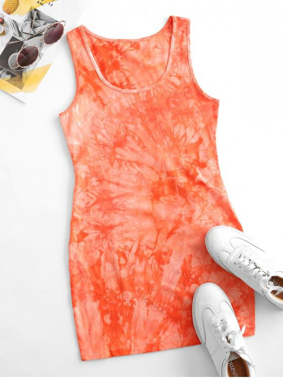 Tie Dye Bodycon Tank Dress - البرتقالي M