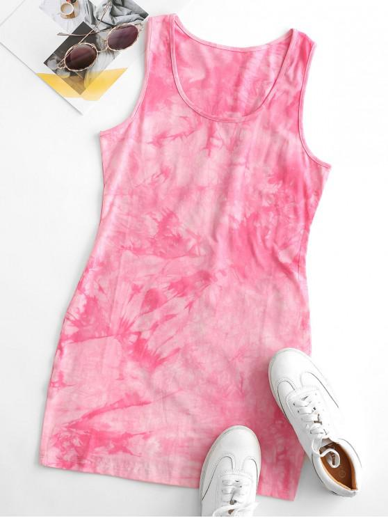 Tie Dye Bodycon Tank Dress - وردي فاتح S