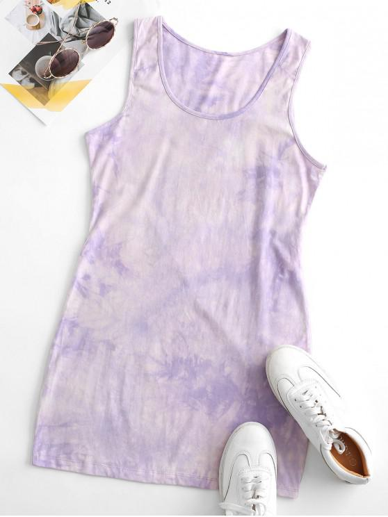 trendy Tie Dye Bodycon Tank Dress - PURPLE S