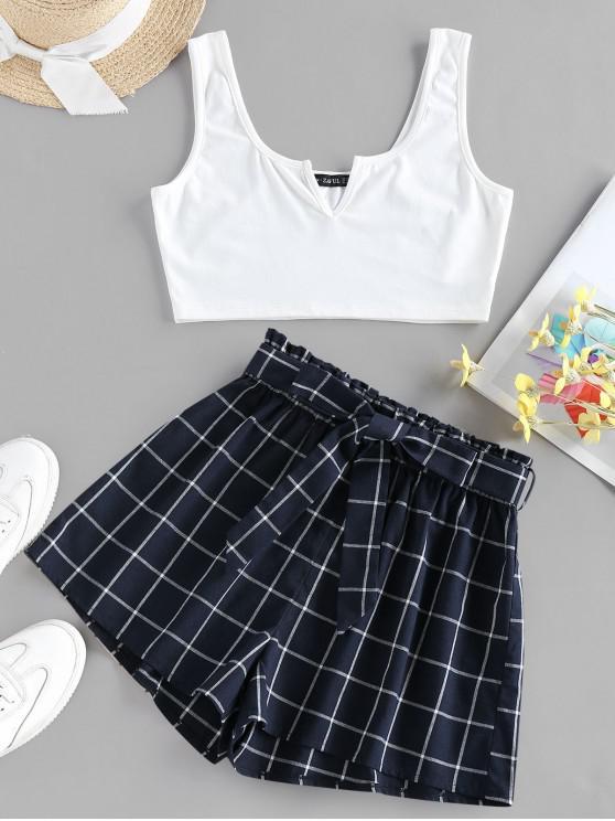 new ZAFUL V Notched Grid Paperbag Shorts Set - PEACOCK BLUE XL