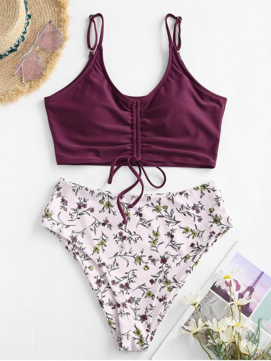 ZAFUL Ditsy Print Cinched Tankini Swimwear - أحمر عميق XL