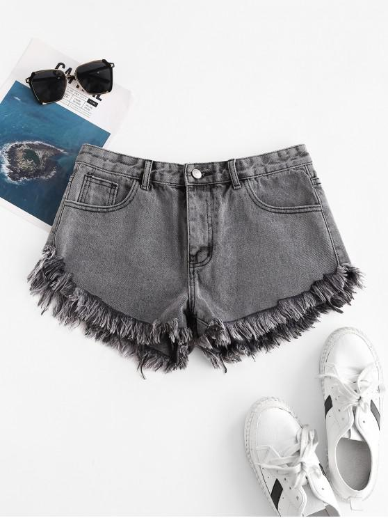 women's Frayed Hem Zipper Fly Pocket Denim Shorts - GRAY XL