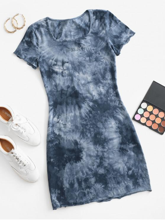 Graphic Tie Dye Casual Tee Dress - أزرق S