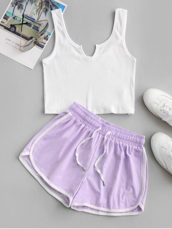 lady Crop Tank Top and Dolphin Shorts Set - LIGHT PURPLE S
