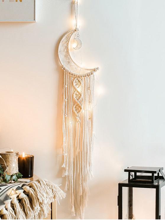 fancy Moon Shape Fringe Wall Hanging Dream Catcher - WARM WHITE