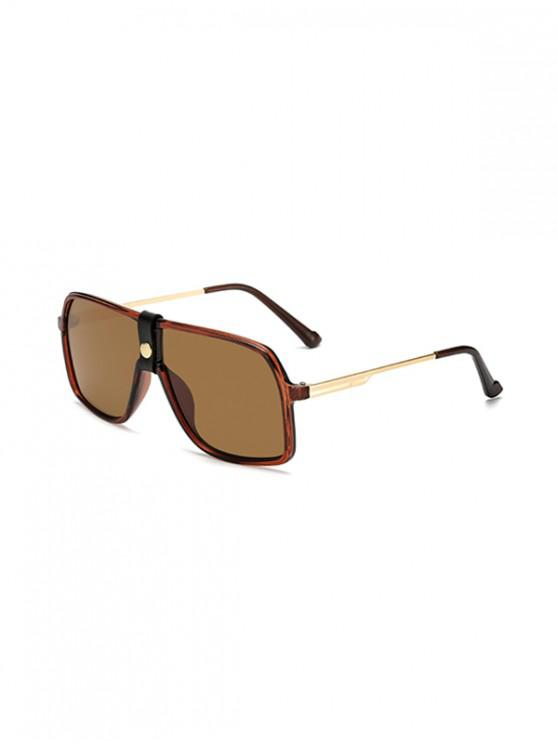 chic Button Oversized Square Sunglasses - SEPIA
