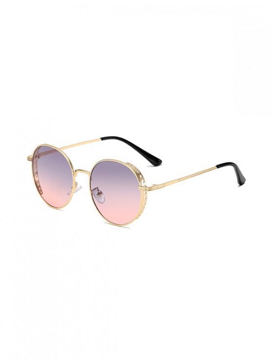 trendy Retro Hollow Holes Round Sunglasses - LIGHT PURPLE