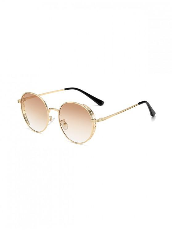 latest Retro Hollow Holes Round Sunglasses - BROWN