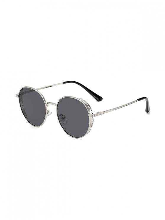 shops Retro Hollow Holes Round Sunglasses - JET BLACK