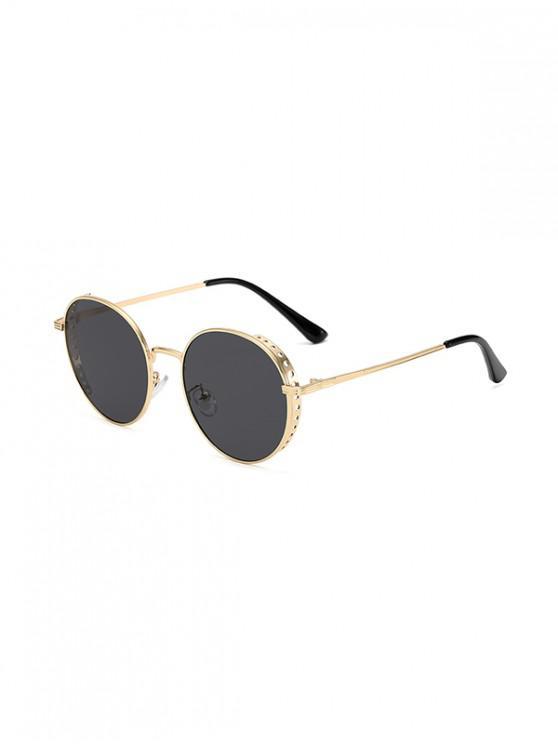 shop Retro Hollow Holes Round Sunglasses - BLACK