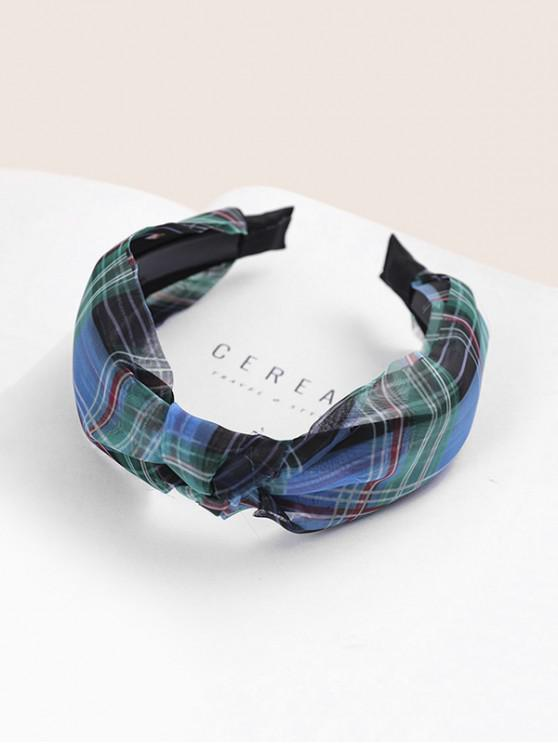 sale Plaid Print Fabric Knotted Headband - BLUE