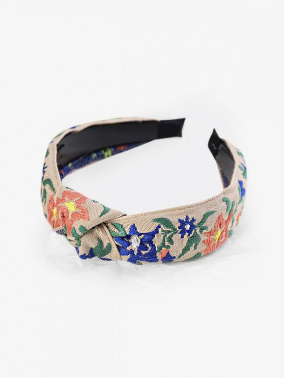 women's Ethnic Floral Leaf Embroidery Hairband - LIGHT GRAY