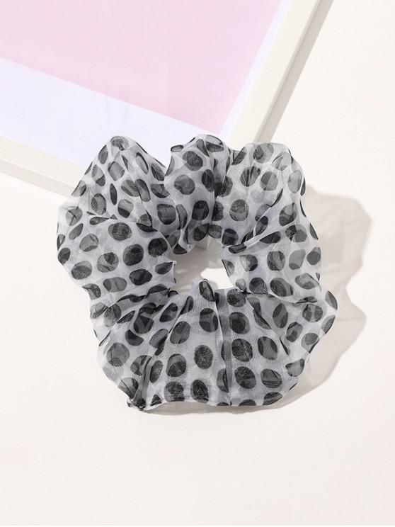 Dot Printed Gauze Fabric Scrunchy - أبيض