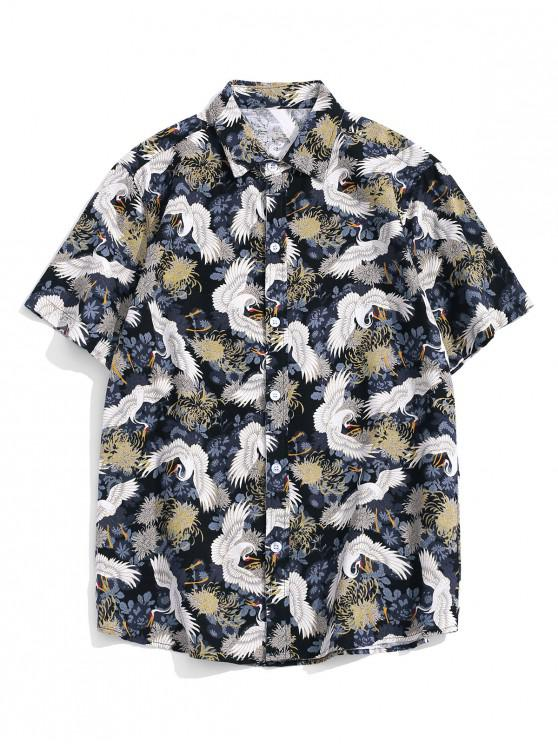 unique Chinese Cranes Print Button Up Short Sleeve Shirt - MULTI-A S