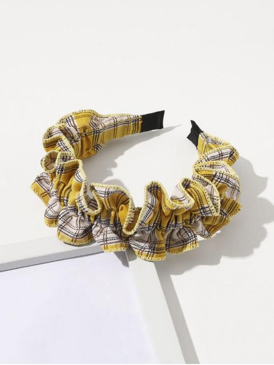 fancy Plaid Print Ruffle Hairband - YELLOW