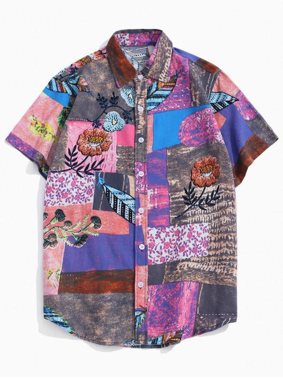 women's Floral Pattern Block Linen Button Up Shirt - GRAY 2XL