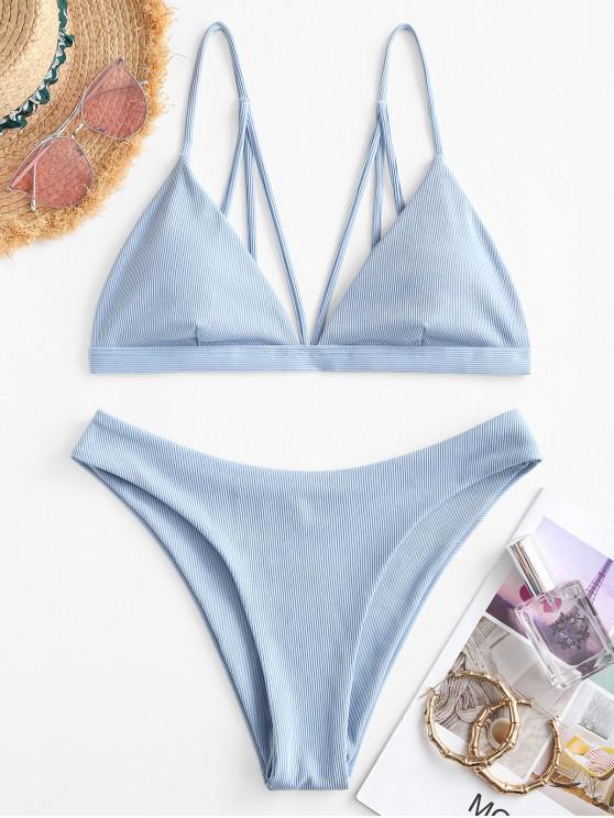 ZAFUL Gerippte Bikini Badebekleidung mit Riemchen - Hellblau L