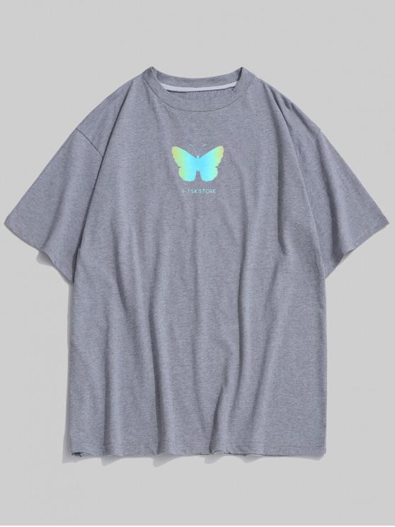 outfits Reflective Butterfly Pattern Basic T-shirt - BATTLESHIP GRAY M