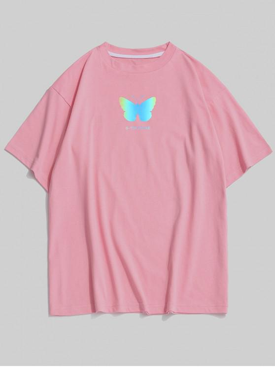 trendy Reflective Butterfly Pattern Basic T-shirt - PINK ROSE S