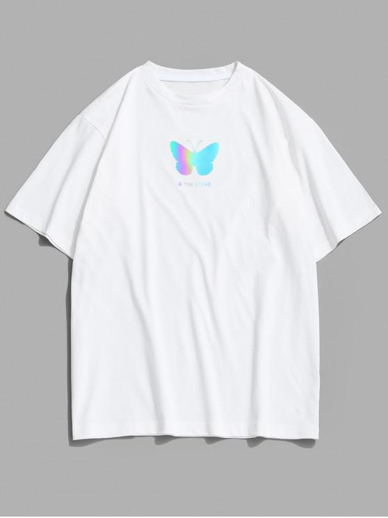 Reflective Butterfly Pattern Basic T-shirt - أبيض S