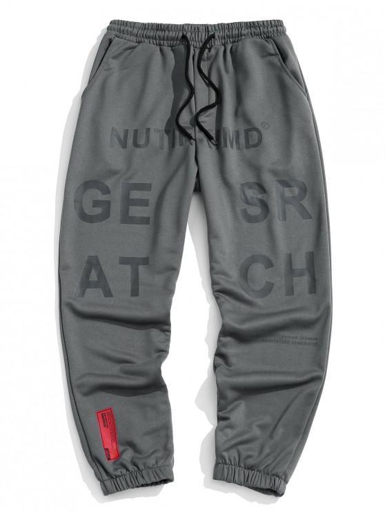 Letter Graphic Elastic Waist Sweatpants - الرمادي الداكن 4XL