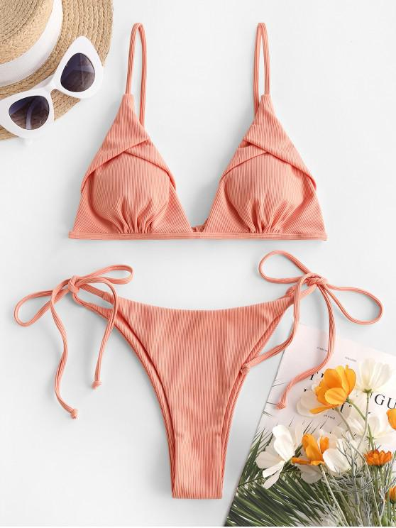 buy ZAFUL Ribbed Tanga String Bikini Swimwear - LIGHT ORANGE S